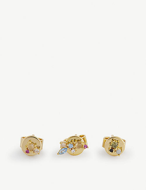 PD PAOLA: Atelier La Pallette 18ct gold-plated gemstone stud earrings set of three