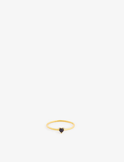 PD PAOLA: black heart 18ct gold-plated ring