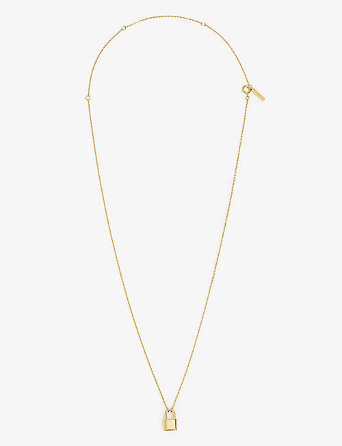 PD PAOLA: Lock 18ct gold-plated sterling silver necklace