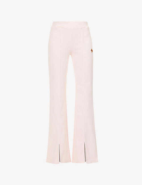 ODOLLS COLLECTION: Structured logo-embellished flared mid-rise stretch-cotton trousers