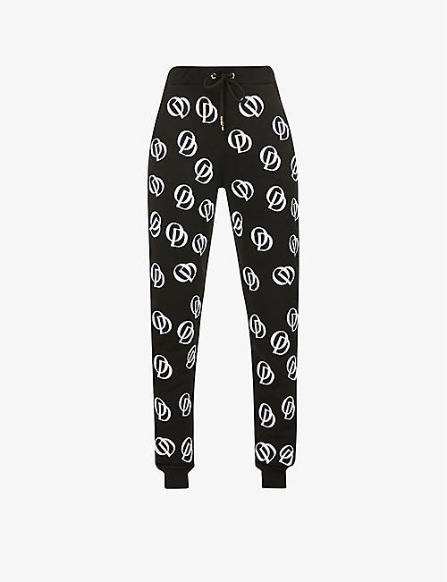 ODOLLS COLLECTION: Logo-embroidered high-rise jersey jogging bottoms
