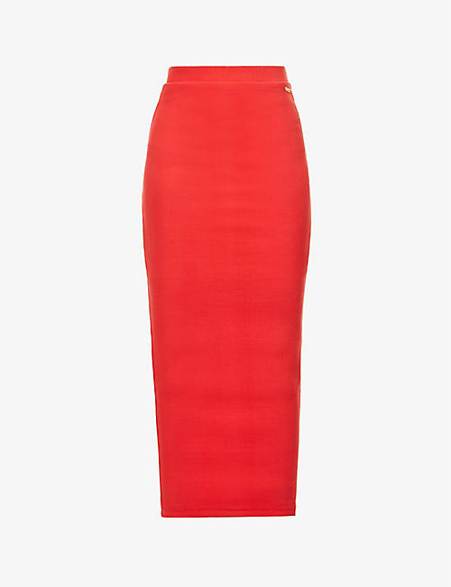 O'DOLLS: Ribbed high-waist stretch-cotton maxi skirt