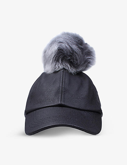 UGG: Pom pom leather baseball cap