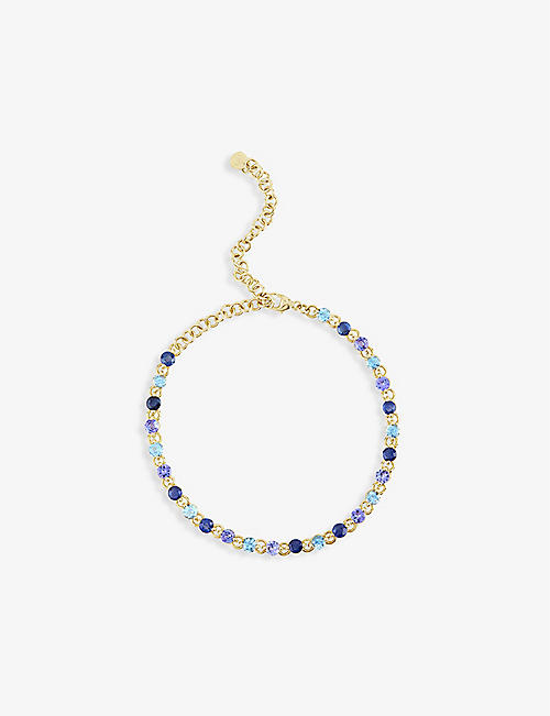 THE ALKEMISTRY: Dinny Hall Shuga 14ct yellow-gold, Swiss blue topaz, sapphire and tanzanite tennis bracelet