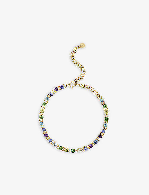 THE ALKEMISTRY: Dinny Hall Shuga 14ct yellow-gold, blue topaz, tsavorite, peridot, tanzanite and amethyst tennis bracelet