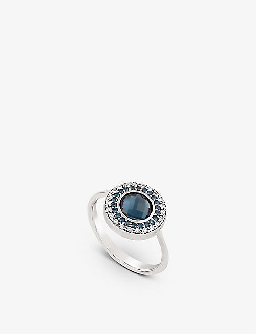 THE ALKEMISTRY: Dinny Hall Double Halo 14ct white-gold, blue topaz, blue diamond and white diamond pinky ring