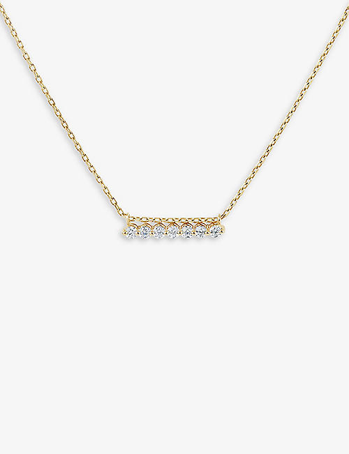 THE ALKEMISTRY: Dinny Hall Shuga Bar Slider 14ct yellow-gold and diamond necklace