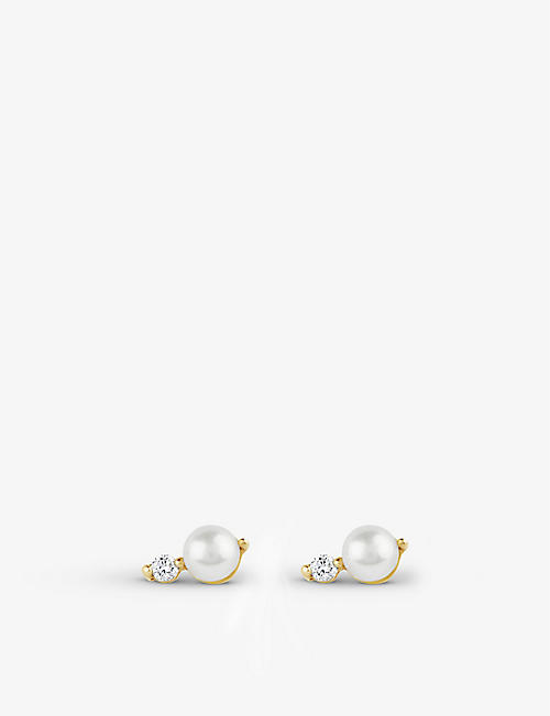 THE ALKEMISTRY: Dinny Hall Shuga 14ct yellow-gold, pearl and diamond earrings