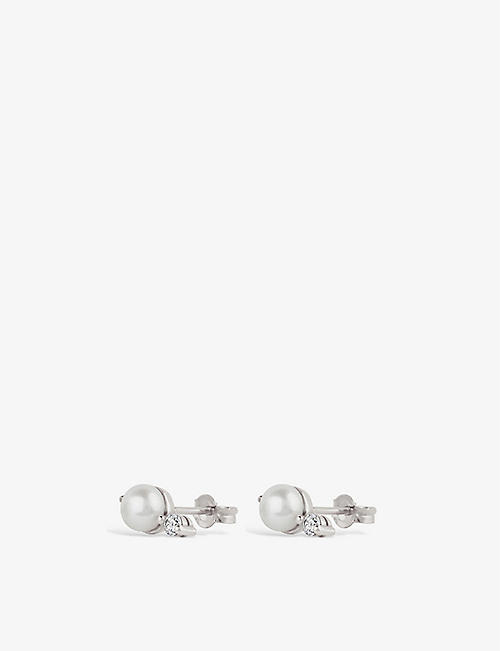 THE ALKEMISTRY: Dinny Hall Shuga 14ct white-gold, pearl and diamond earrings