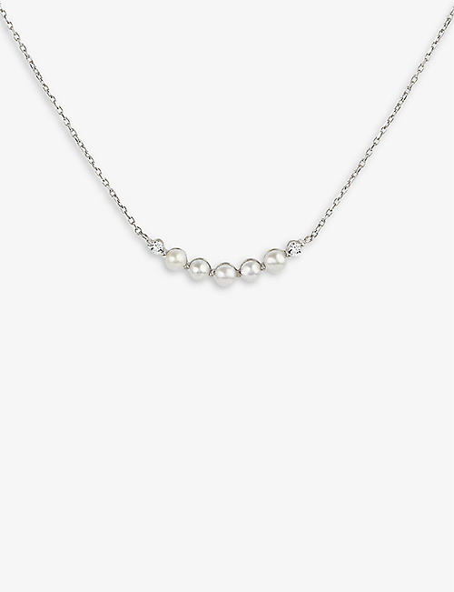 THE ALKEMISTRY: Dinny Hall Shuga 14ct white-gold, diamond and pearl bar pendant necklace