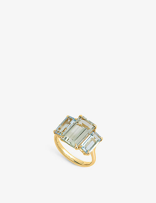 THE ALKEMISTRY: Dinny Hall Suffragette Trinny Trilogy 22ct yellow gold-plated vermeil, green amethyst and sky blue topaz ring