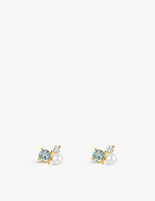 THE ALKEMISTRY: Dinny Hall Gem Drop Trilogy 22ct yellow gold-plated vermeil, sky blue topaz, white topaz and pearl earrings