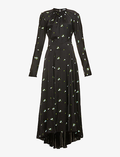PACO RABANNE: Floral-embroidered satin-crepe midi dress