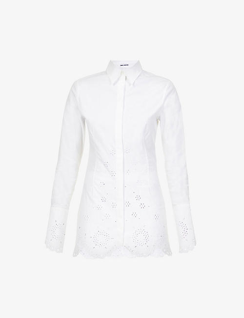 PACO RABANNE: Broderie-trims cotton-poplin shirt