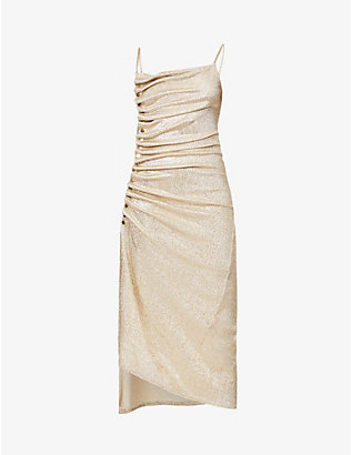 PACO RABANNE: Asymmetric-hem ruched stretch-metallic midi dress