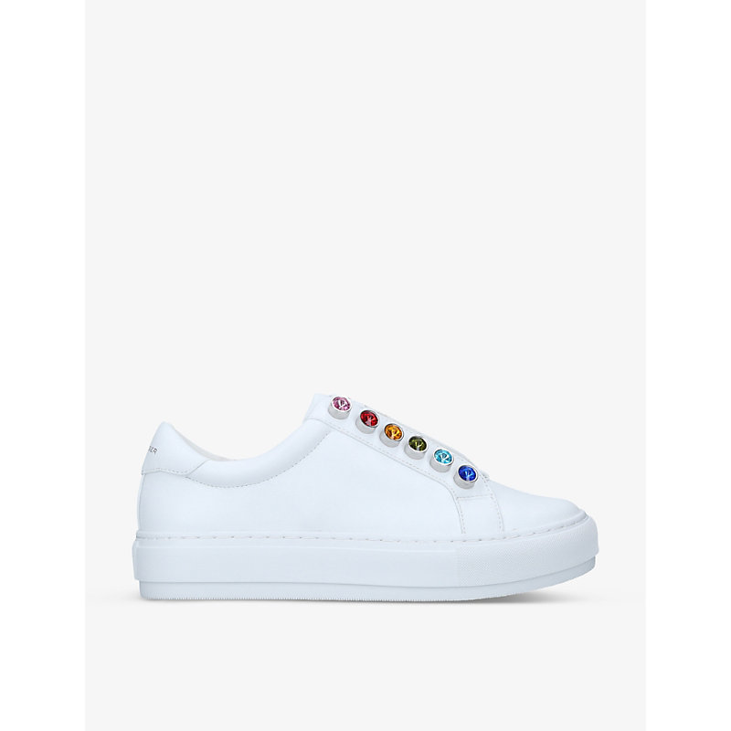 Kurt Geiger Crystals LIVIAH EMBELLISHED LEATHER TRAINERS