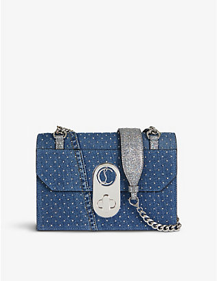CHRISTIAN LOUBOUTIN: Elisa small leather and denim shoulder bag