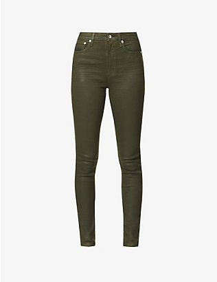RAG & BONE: Nina coated skinny high-rise stretch-denim jeans