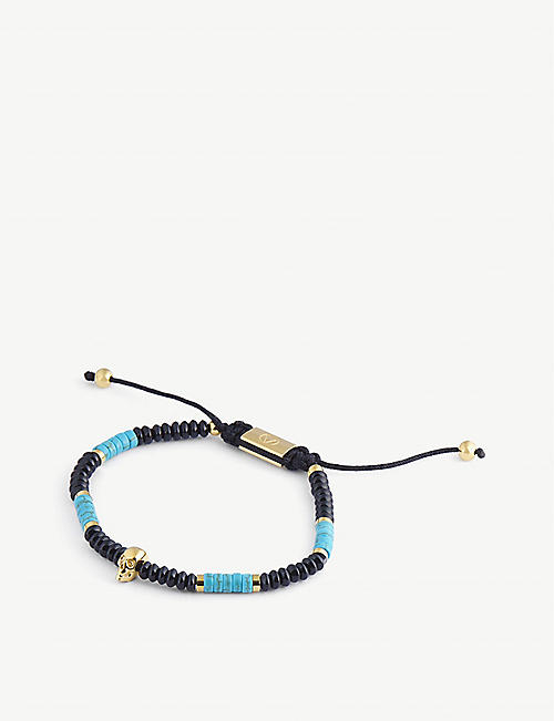 NORTHSKULL: Macrame gold-plated steel beaded bracelet