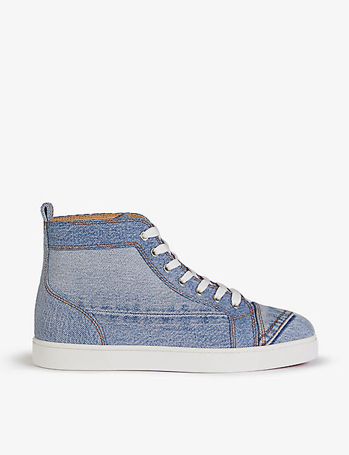 CHRISTIAN LOUBOUTIN: Louis flat denim vtr met blue