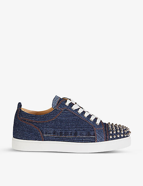 CHRISTIAN LOUBOUTIN: Louis junior spikes flat denim blue