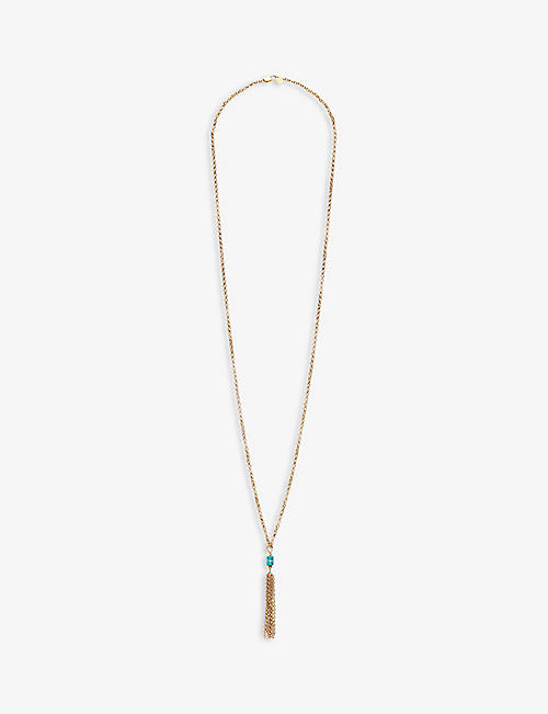 CLAUDIE PIERLOT: Audrey gold-tone brass and turquoise necklace