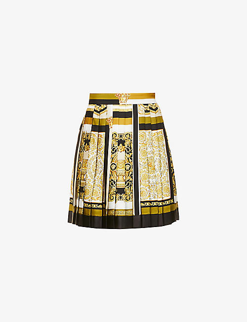VERSACE: Baroque-print high-waist silk mini skirt