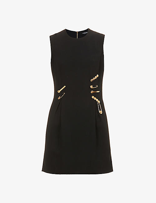 VERSACE: Safety-pin embellished stretch-woven mini dress