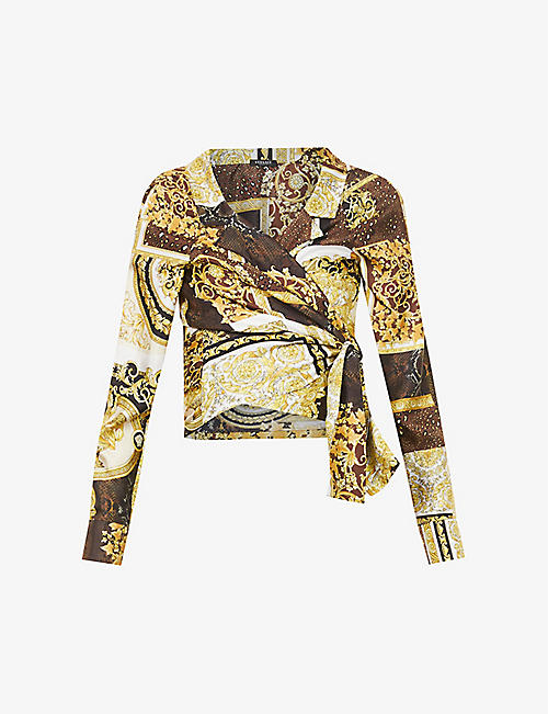 VERSACE: printed wrap around silk shirt