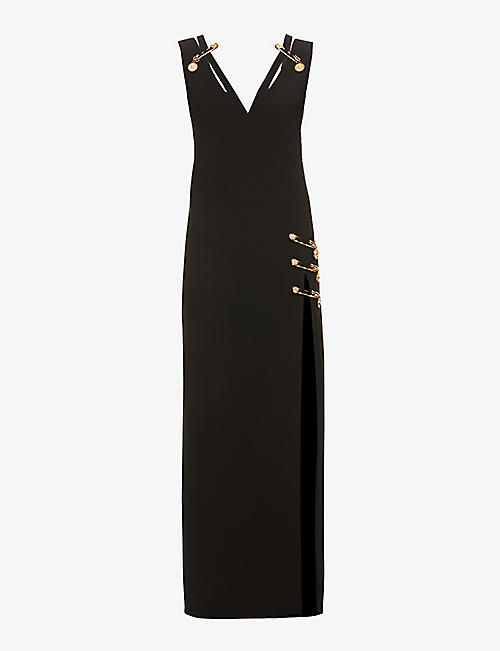 VERSACE: Safety-pin embellished silk gown