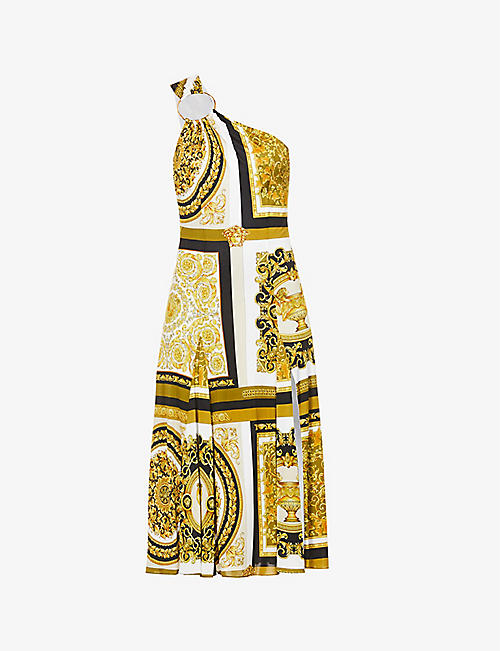 VERSACE: One-shoulder baroque-print stretch-woven midi dress