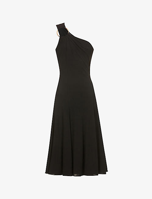 VERSACE: One-shoulder hoop-embellished stretch-knit midi dress