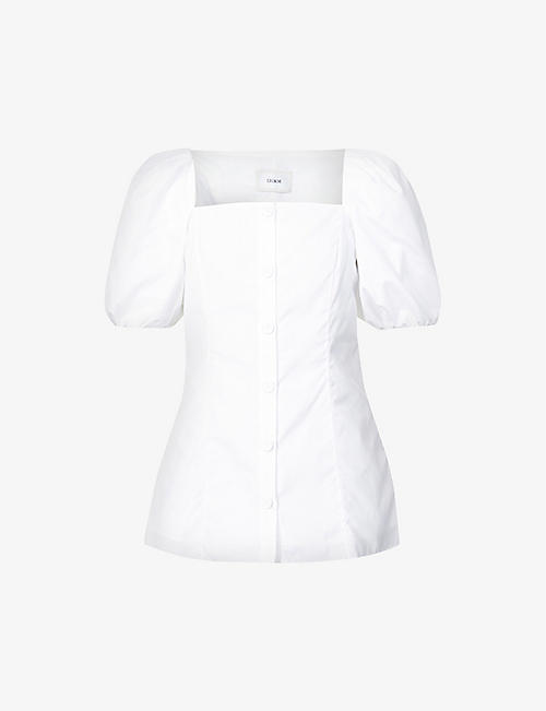 ERDEM: Inez puffed-sleeve cotton-poplin top
