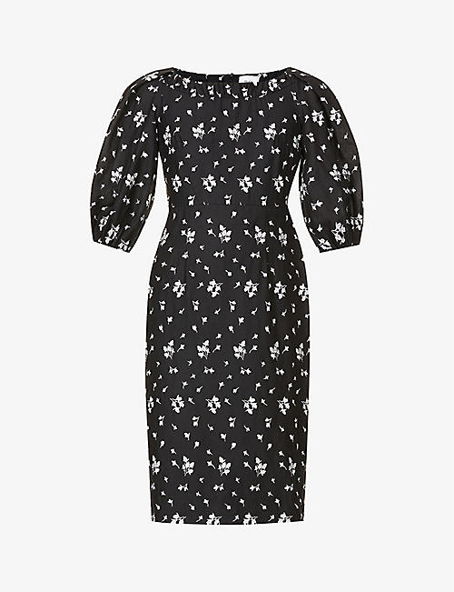 ERDEM: Gerald floral-embroidered linen and cotton-blend midi dress