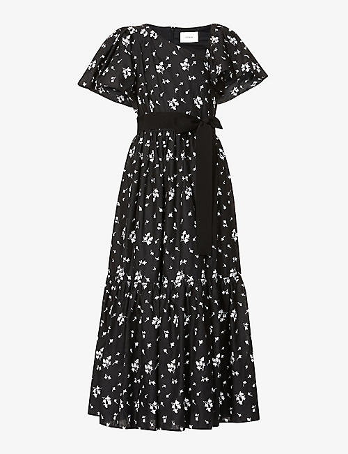 ERDEM: Palomina floral-embroidered linen-blend midi dress