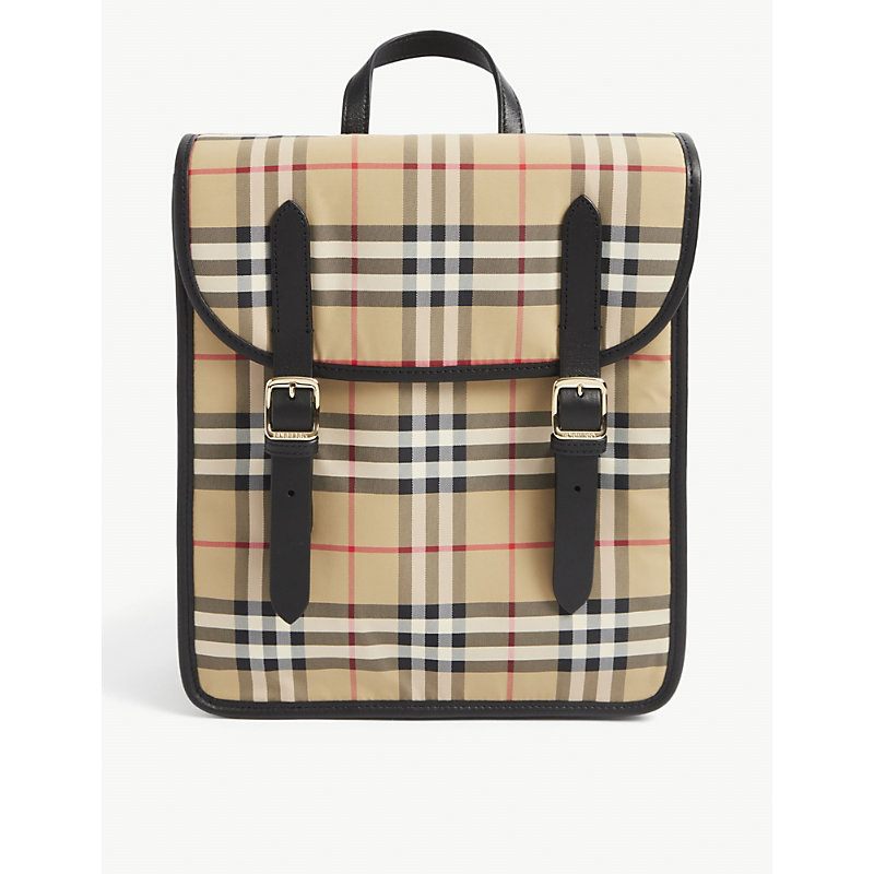 Burberry Kids' Valeria Logo-print Nylon Backpack In Archive Beige