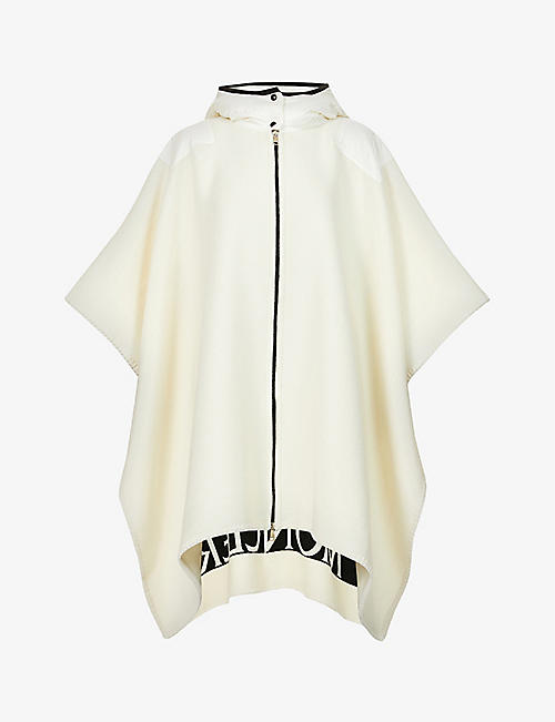 MONCLER: Mantella hooded wool-blend cape