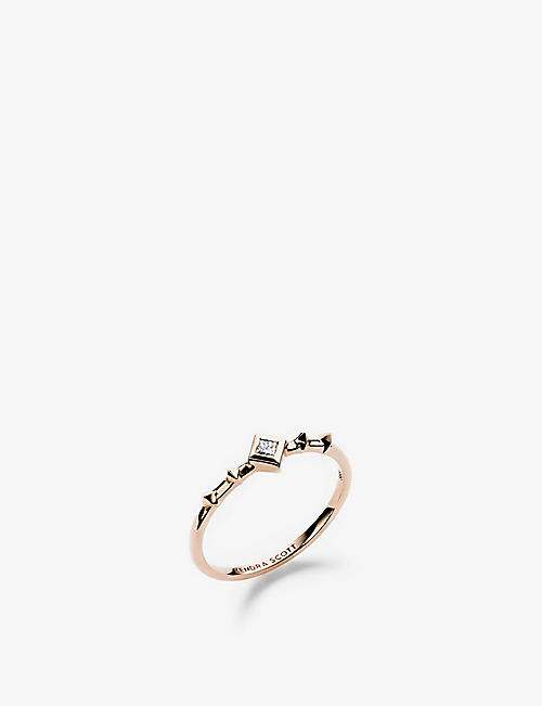 KENDRA SCOTT: Wave 14ct yellow-gold and diamond ring