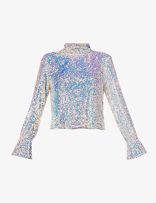FREE PEOPLE: Sequin-embellished woven top