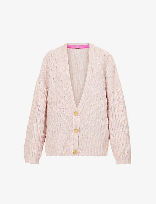 FREE PEOPLE: Molly diamond-knit oversized knitted cardigan