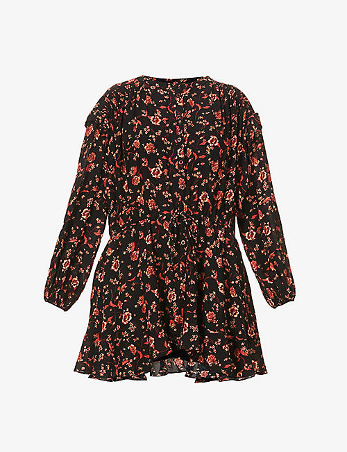 FREE PEOPLE: Flower Fields floral-print poplin mini dress