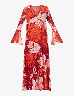 FREE PEOPLE: Moroccan patchwork floral-print chiffon maxi dress