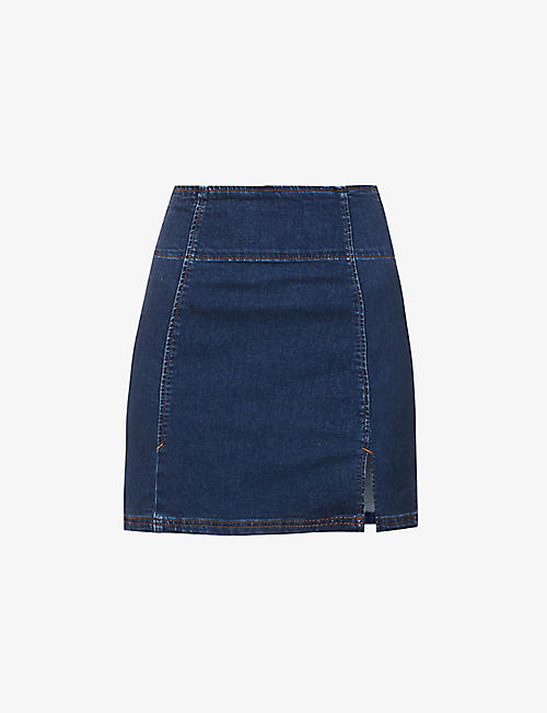 FREE PEOPLE: Hold A Dream stretch-denim mini skirt