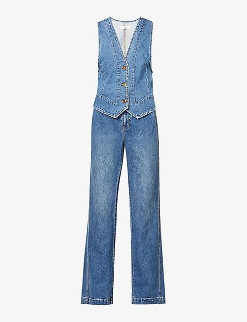 FREE PEOPLE: Modern Mead wide-leg high-rise jeans and denim waistcoat