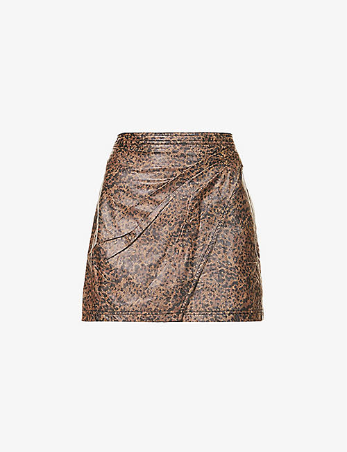 FREE PEOPLE: Leopard-print high-waist faux-leather mini skirt