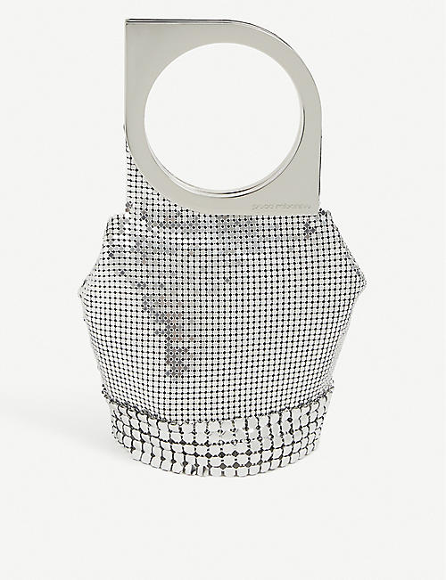 PACO RABANNE: Op' Art metal mesh top-handle bag