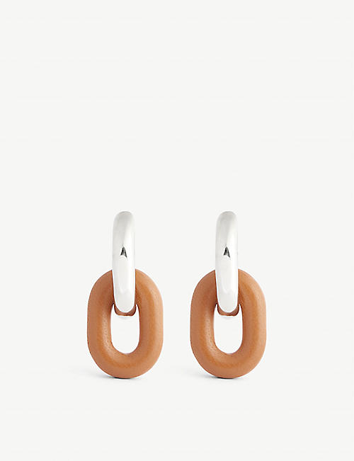 PACO RABANNE: XL Link silver-toned and leather hoop earrings
