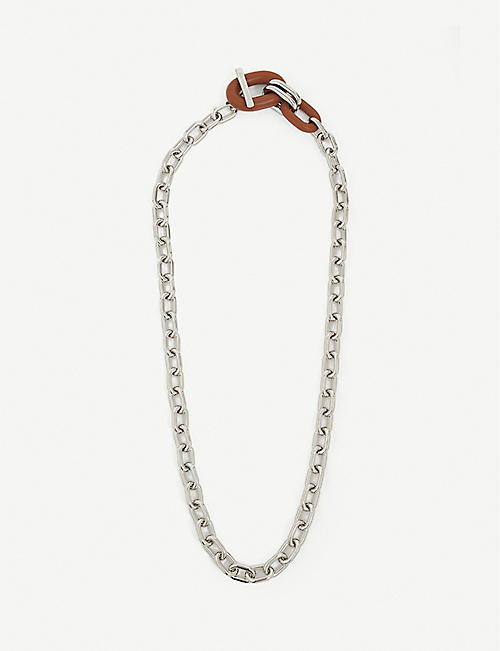 PACO RABANNE: XL link leather and silver-toned necklace