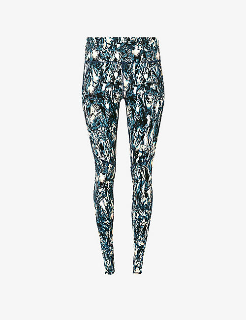 SWEATY BETTY: Power 7/8 Workout abstract print stretch-jersey leggings