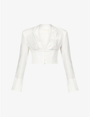 REMAIN BIRGER CHRISTENSEN: Chantal corset-style cropped woven blouse